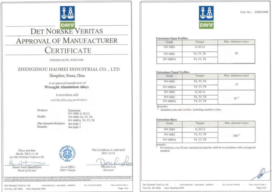 La Certificación DNV HAOMEI INDUSTRIAL de placas de aluminio