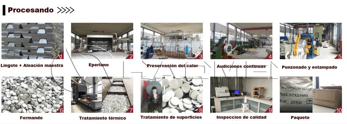 Proceso de pastilla de aluminio
